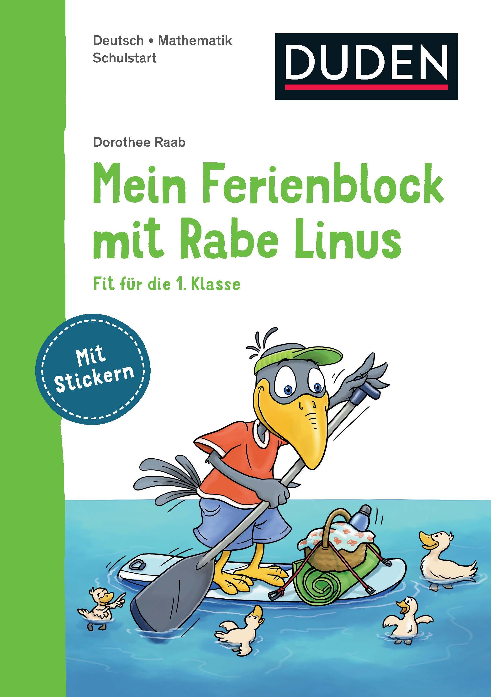 Cover vom Buch'Mein Ferienblock mit Rabe Linus: Fit für die 1. Klasse'