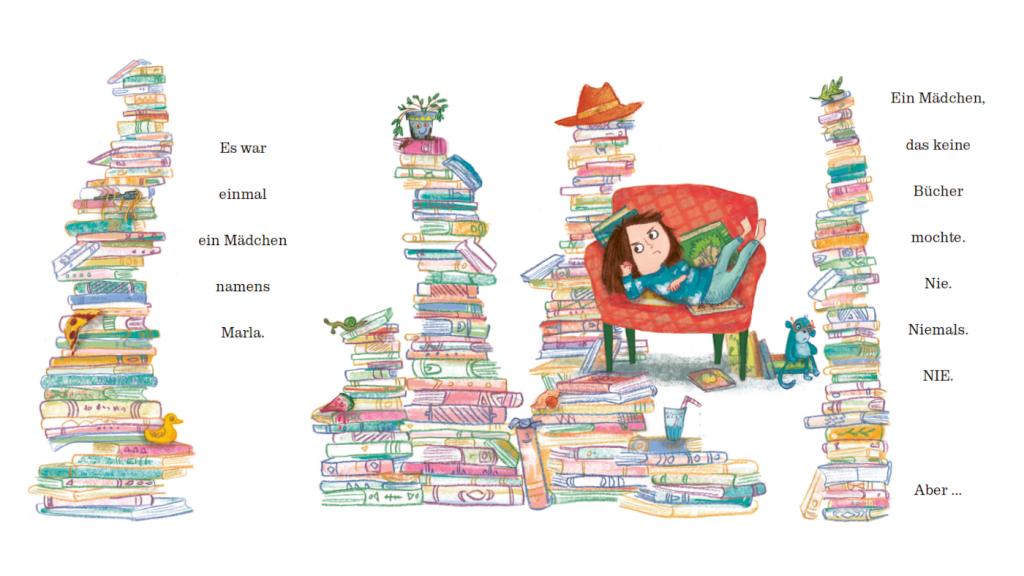 Bildergeschichte über Bücherlesen: Ich mag keine Bücher Dragonfly