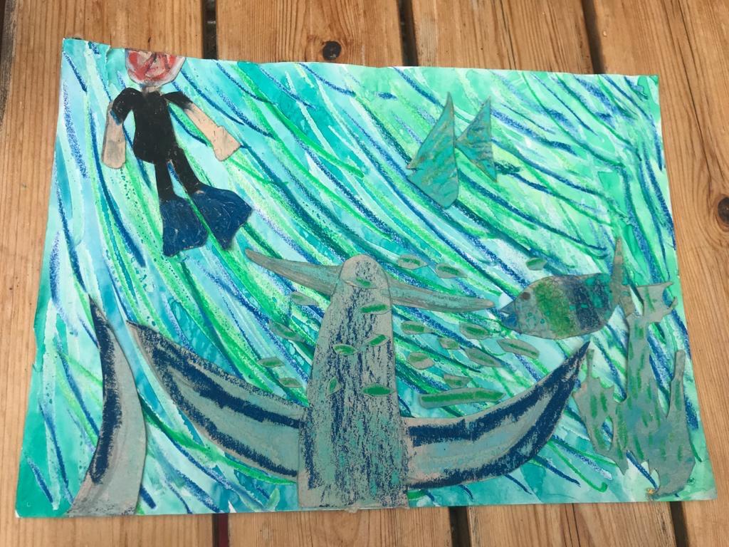 """Mio hat ein BIld gemalt zum Buch """"Sommer"""", darauf taucht er und schwimmt mit den Fischen"""