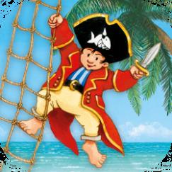 Abbildung vom Kinderbuchheld Käptn Sharky auf einer Strickleiter mit Säbel in der Hand.