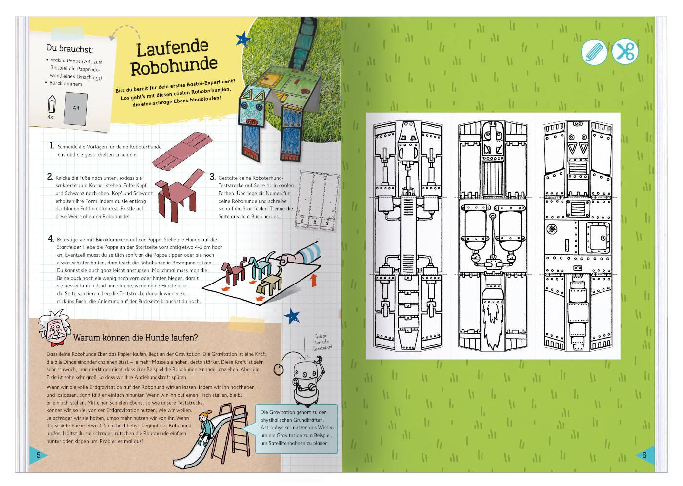 Das Physik-Bastelbuch: Laufende Robohunde basteln